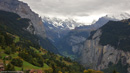 Widescreen image looking down the lauterbrunnen valley from above Wengen